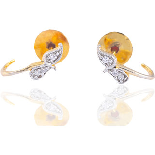 Antiquejewels Brass Gold Plated Women Cubic Zircon Studs Earring