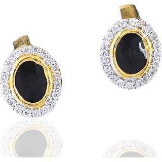 Antiquejewels Brass Gold Plated Women Cubic Zircon and Black Stone Studs Earring