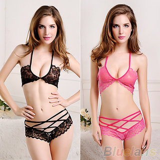 Baby Doll-Soft lace Exotic Lingerie set- Halter neck Sleepwear Bra  Panty - 1 Qty