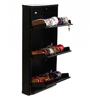 Buy Black Shoe Rack 3 Tier Hanging Metal Stand Shoes Organizer With