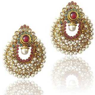 47ad646991c Buy Red Green Pearl Polki Earrings Online   ₹450 from ShopClues
