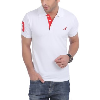 Mens Half Sleeve Solid T-Shirt With No.3 Applique (White)