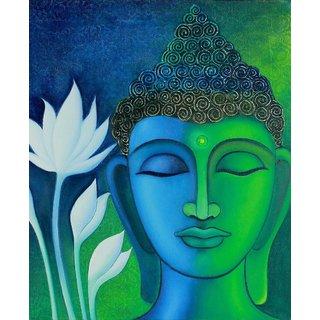 Sree 3D Buddha in Meditation canvas Print Unframed (18 inch x 22 inch),Green  Blue