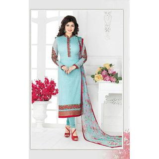Thankar Sky Blue Embroidered Georgette Straight Suit