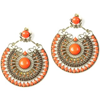 Orange Round Earings