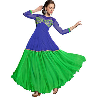 Style Mania Dynamic Blue  Green Color  Soft Net Fabric gown SMGWMYA1002