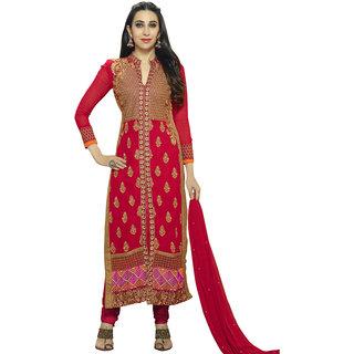 Style Mania  Red Color Georgette Straight  Salwar Kameez  SMDMDV110001