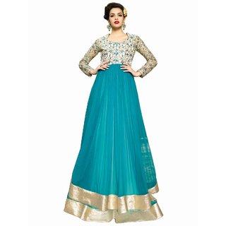 Style Mania Awe Inspiring Turquoise Georgette  Net  Bhagalpuri Floor Length Anarkali Salwar Kameez  SMSTREG18002 SMSTREG18002