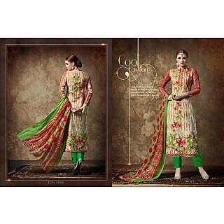Digital printed designer cotton suit with chiffon dupatta