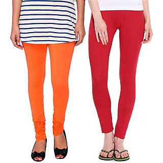 Legemat Orange and Red Leggings For Girls Pack of 2