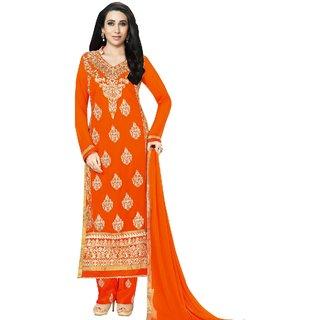 Style Mania Epitome Orange Color  Faux Georgette Straight Salwar Kameez SMSTKV105186 SMSTKV105186