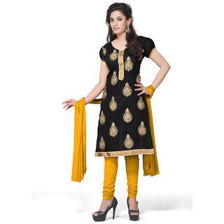 Style Mania  Black Cotton Churidar Salwar Kameez  SMDMLA144