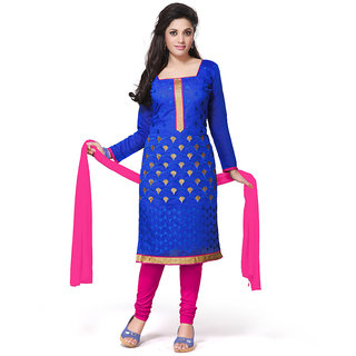 Style Mania  Blue Cotton Churidar Salwar Kameez  SMDMLA148