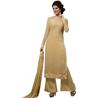 Style Mania Beige Colored Georgette Embroidered Salwar Suit SMSTMY10007