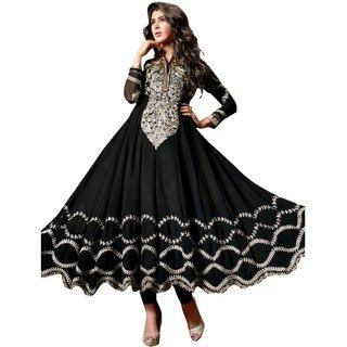 Style Mania Pretty Black Georgette Embroidery Work  Lace Border  Anarkali Salwar Kameez  SMSTPR9004 SMSTPR9004