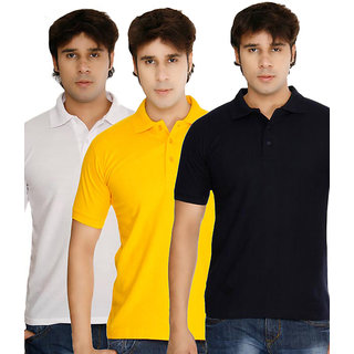 Pack of 3 Polo Neck T-shirt (Yellow, Black, White)