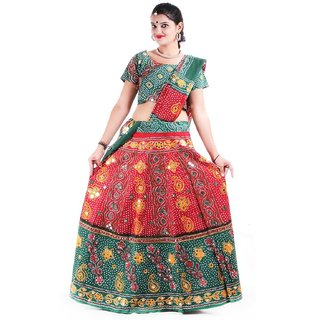 78f27f42f3ab Buy Rajasthani Traditional Green Red Lehenga Choli Dupatta Set for Women  Online   ₹2500 from ShopClues