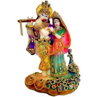 Statue - Multicolor Radha Krishna Statue Over Pink Base - 14 cms Height