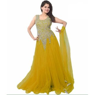 Style Mania Yellow  Colored net Embroidered Salwar Suit SMSTLOPY16
