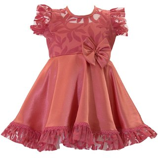 Peach Sateen Dress Available in 6 months to 13 years girls from Unnati Clothings
