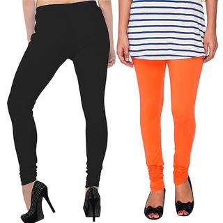Legemat Black and Orange Leggings For Girls Pack of 2