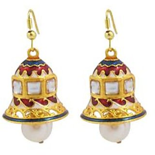 Kundan Meenakari Bell Shaped Jhumki Earring Set 4