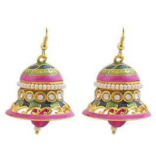 Kundan Meenakari Bell Shaped Jhumki Earring Set 5