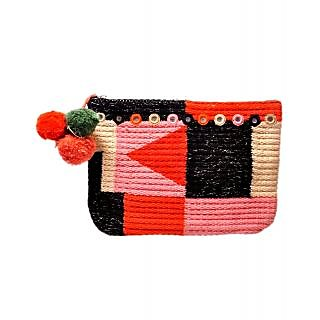 Diwaah Hand Crafted Multicolor Rug Pom Pom Pouch DWH000000408