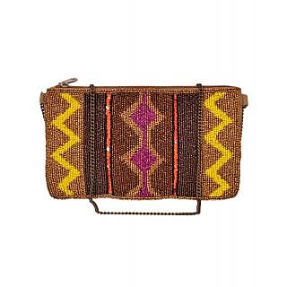Diwaah Hand Crafted Multi Embroidered Zip Top Clutch DWH000000420