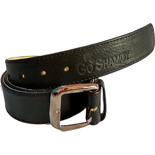 GoShamoy Branded FINE LEATHER Black Belt For Men