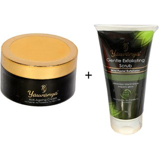 Yauvanya face combo - Anti Ageing (50gms)+ Gentle Exfoliating Scrub (50gms)