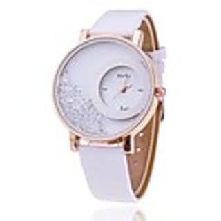 new leather dimond dial white watch