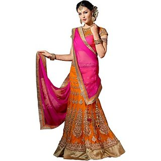 Fabrics Net Embroidered, Embellished Semi-stitched Lehenga Choli Material