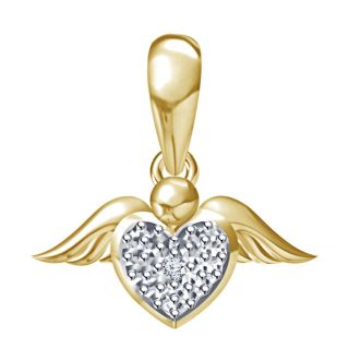 Vorra Fashion New Beautiful 14k Yellow Gold Plated 925 Sterling Silver Diamond Heart Shape Pendant
