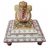 Lord Ganesha On Marble Chowki