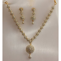 Real CZ Gold Silver Plating Diamond Finish Necklace Imitation Jewellery