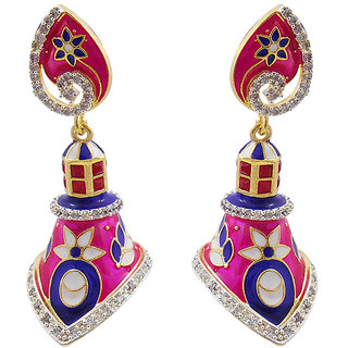 Elegant Meenakari  American Diamond Earring Set 1