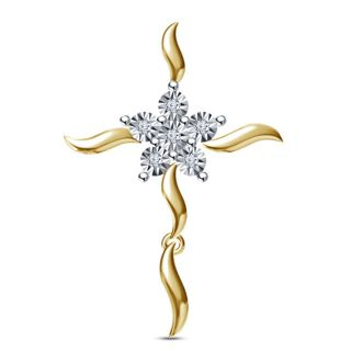 Vorra fashions 14K Gold Plating  beauitiful Fancy Cross Pendant In 925 Sterling Silver with Genuine Diamond
