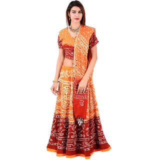 Halowishes Rajasthani Sequin Work Orange Lehanga Choli Set - 103