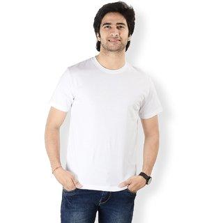 Mens Round Neck Cotton White T-Shirt