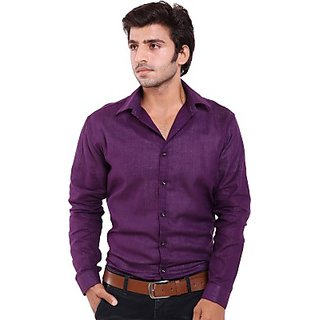 Feed Up Mens Solid Casual PURPLE Shirt