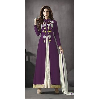 Ladyview Purple  White Embroidered Georgette Anarkali Suit