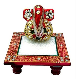 Handicraft Marble Ganesh Chowki Marble Pooja Chowki(Multicolor, Pack of 1)