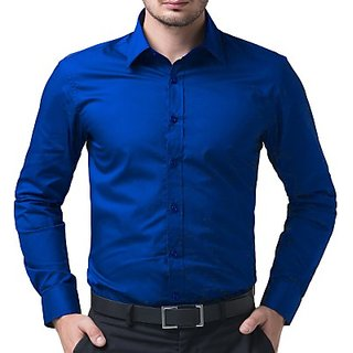 Mens Solid Casual Blue Shirt