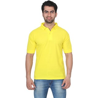 Trenders Polo Lemon yellow color T Shirt super soft poly cotton