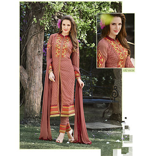 Kvsfab Peach Shantoon Embroidered Salwar Suit Dress Material