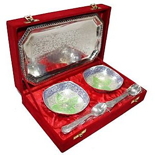 SSART - Decorifyme Wedding Gift Set Silver Plated Colored Accent 5Pc Set With Engraving In A Velvet Gift Box