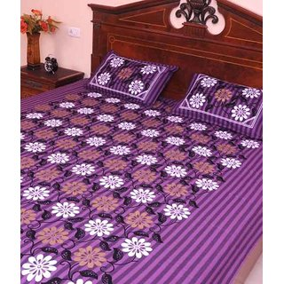 Mauve And Brown Purple Cotton Double Bed Sheets With Two Pillow Cover