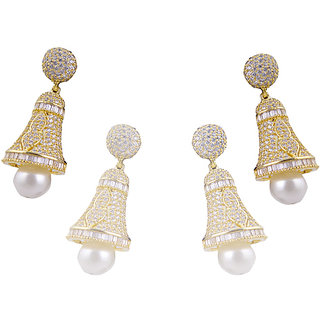 Antiquejewels Brass Gold Plated Women Cubic Zircon and Pearl Fashion Jhumki Earring