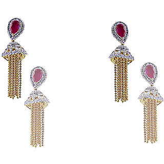Antiquejewels Brass Gold Plated Women Cubic Zircon and Red Stone Fashion Jhumki Earring